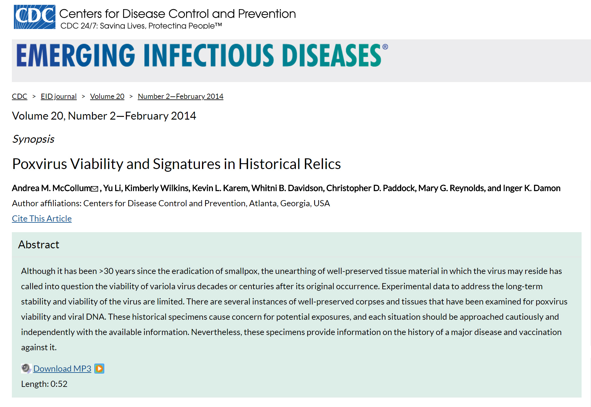 Research included in academic publication & presented at CDC