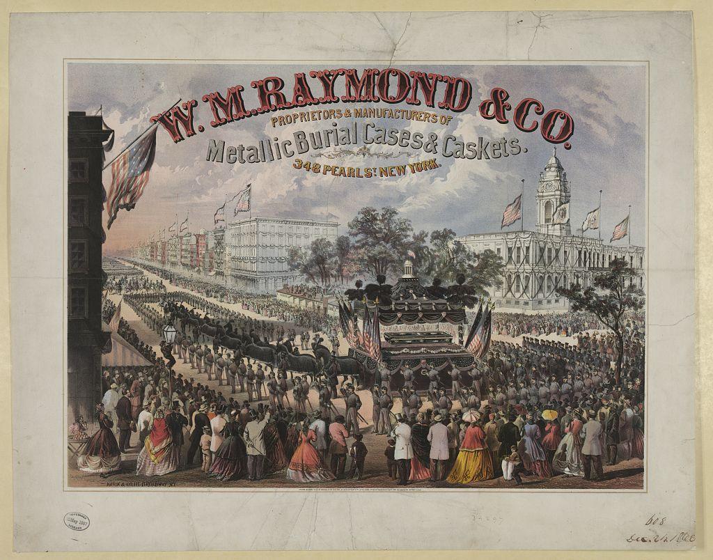 iron coffin advertisement lithograph